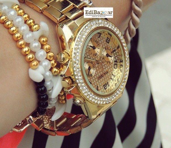 Złoty Srebrny zegarek Geneva cyrkonie damski EdiBazzar