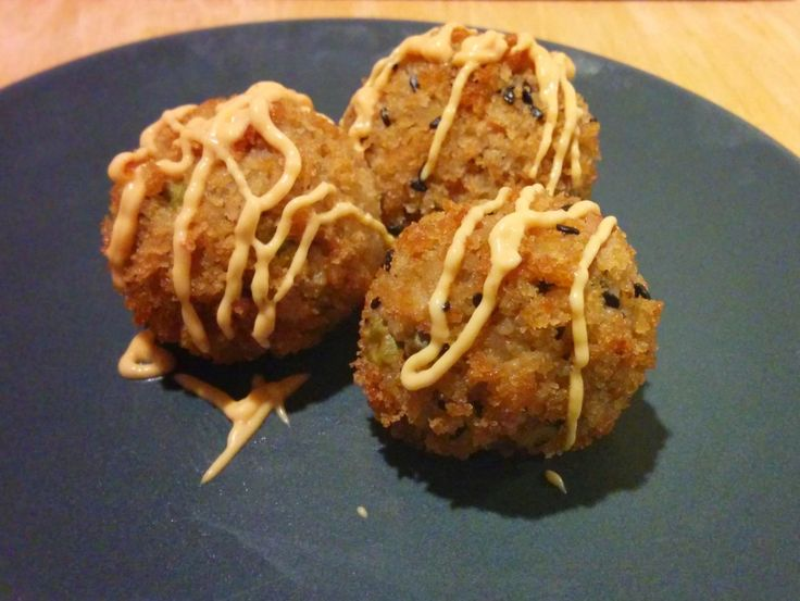 Kimchi Fried Rice Balls with Spicy Mayo and Lemon Scallion Aioli