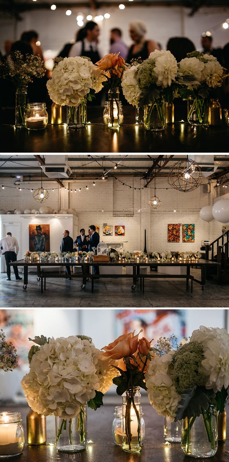 Industrial cocktail wedding reception | Caveira Photography | See more: http://theweddingplaybook.com/industrial-art-gallery-wedding/