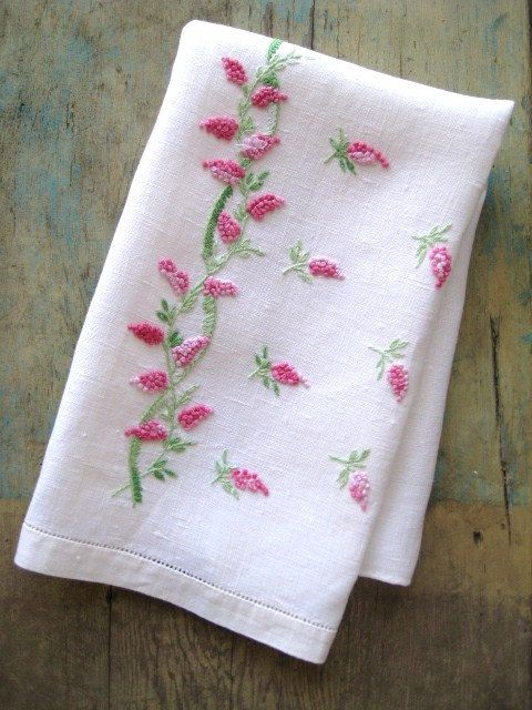 Vintage linen fingertip towel with embroidered wisteria.