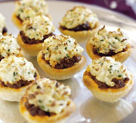 Finger food collection: mini chilli pies - to try with Quorn mince or chopped veggies in red wine as suggested in one of the comments.
