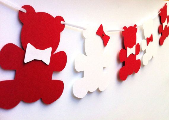 Teddy Bear Banner. Large bears & bows. Baby shower, nursery decor, high chair…