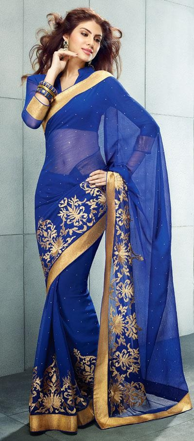 $45.09 Blue Embroidered and Stone Work Chiffon Party Wear Saree 24664