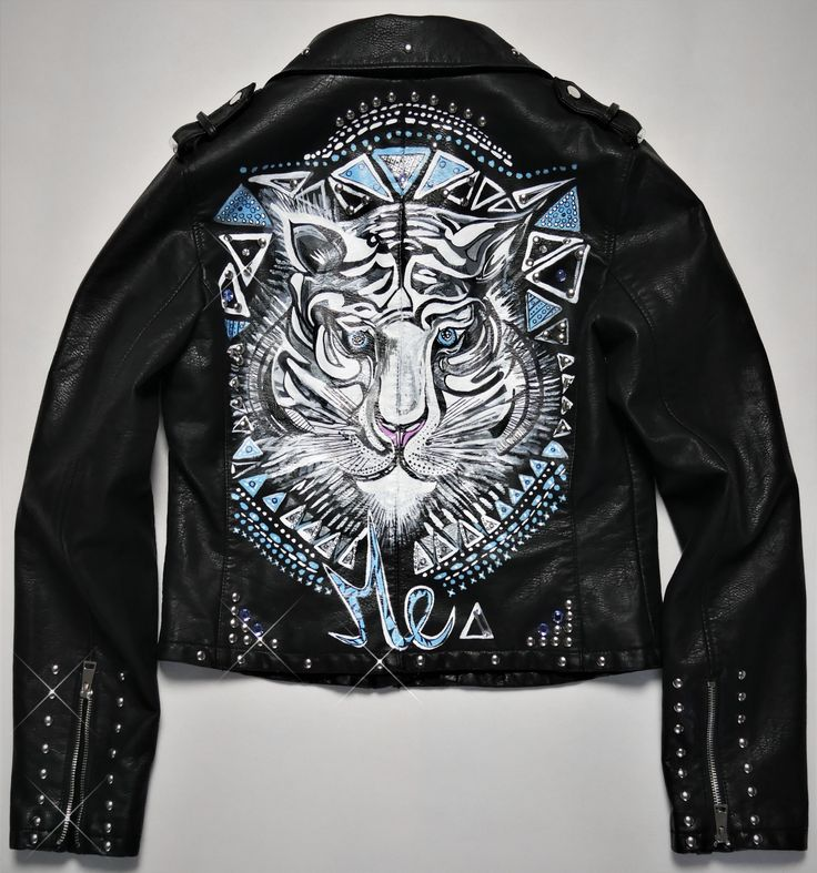 Tiger Jacket, Hand-Painted Jacket , Hand-crafted, Custom Made Biker Jacket, Custom Leather Jacket