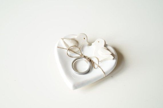 Little Love Birds Wedding Ring Dish Ring Holder by HerMoments