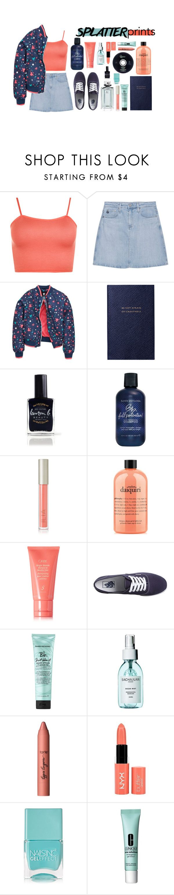 """""""splatter prints"""" by fernweeh on Polyvore featuring moda, WearAll, AG Adriano Goldschmied, Smythson, Lauren B. Beauty, Bumble and bumble, Ilia, philosophy, Oribe i Vans"""