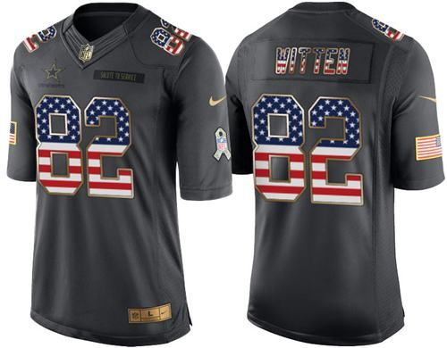 Nike Cowboys #82 Jason Witten Black Men's Stitched NFL Limited USA Flag Salute To Service Jersey