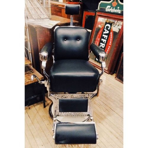 1950's Belmont Barber chair,  re-upholstered, re-chromed. Gorgeous condition.
