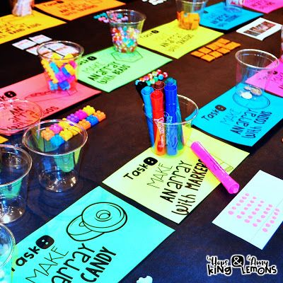 Array Task Stations:  Students create arrays with materials you will find around the classroom.