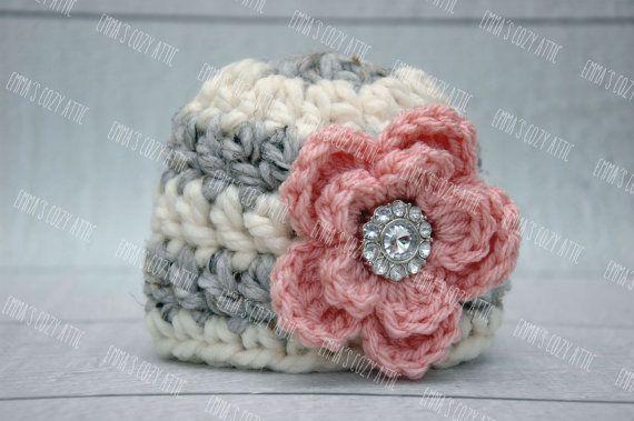 Newborn baby girl hat grey ecru pink flower hat by emmascozyattic, $25.00