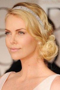 Romantic hair style for blonde hair. Headband.