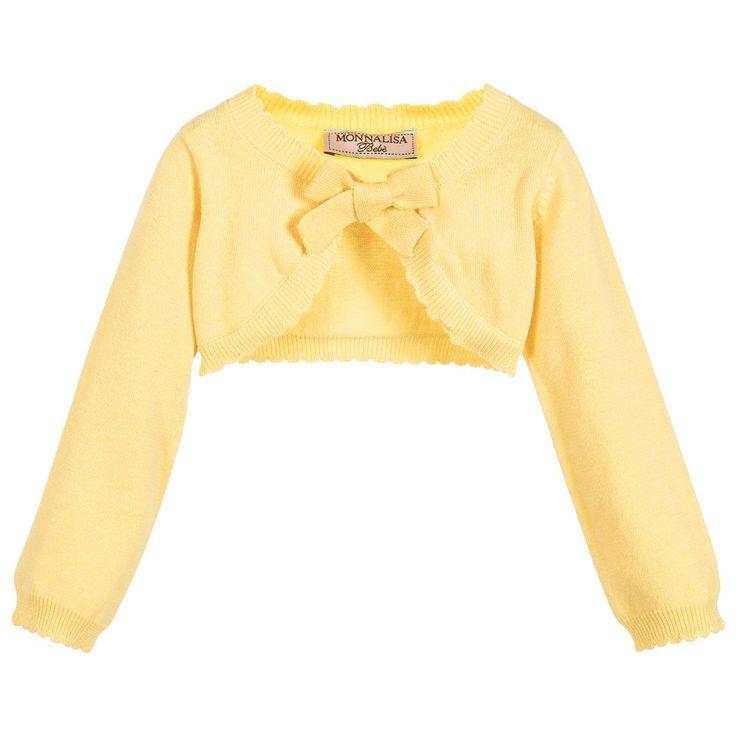 Monnalisa Baby Girls Yellow Bolero Cardigan at Childrensalon.com
