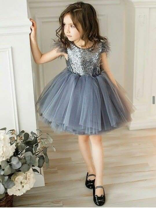 7b2ad89e1 Dusty Blue Sequin Feather Sleeve Dress  Kids Fashion  Girls  Holiday ...