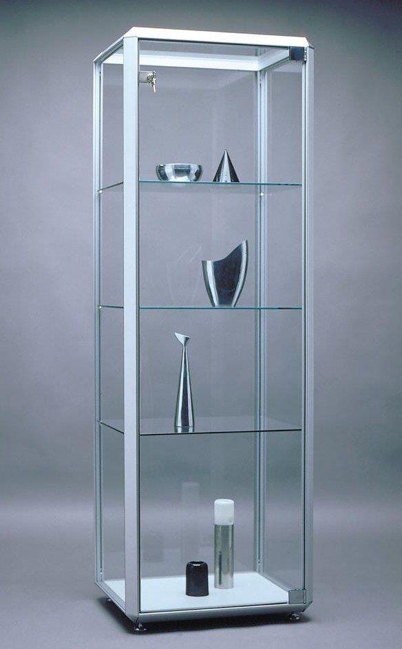 quadratische standvitrine alu profile dreieckig decke klarglas