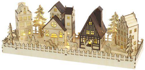 Brauns Heitmann LED Holz Weihnachtsdorf, 7 warm weiße Dioden, 3 x AA-