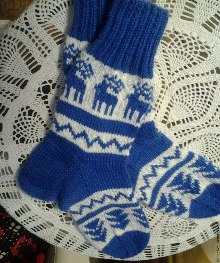 Купить Новогодние носки синие - носки, носки вязаные, Носки шерстяные, носки теплые