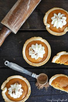 Mini Pumpkin Pies Made in a Muffin Tin. All the goodness of a pumpkin pie in a smaller size!