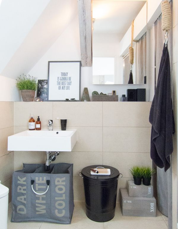 Inspiring quote - morning bathroom - a flat in an attic by Sabina Królikowska, via Behance