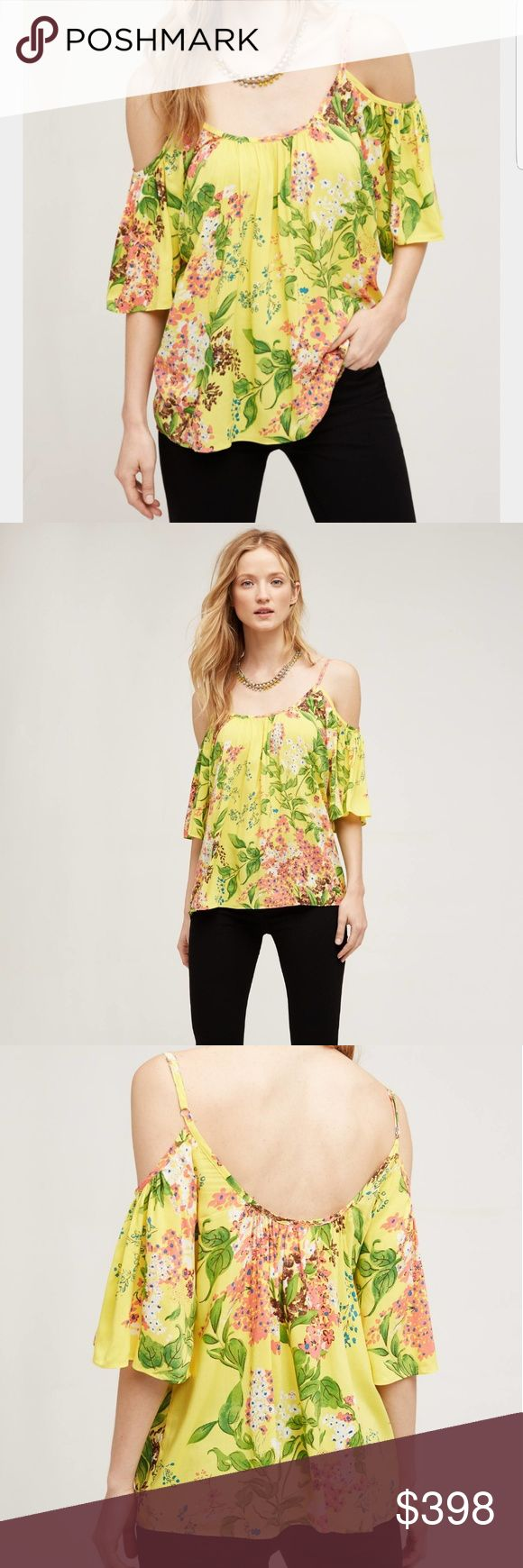 ANTHROPOLOGIE Plenty Tracy Reese Tai Open Shoulder ANTHROPOLOGIE Plenty Tracy Reese Tai Open Shoulder Top Tee  Sz M  Not for Sale Anthropologie Tops