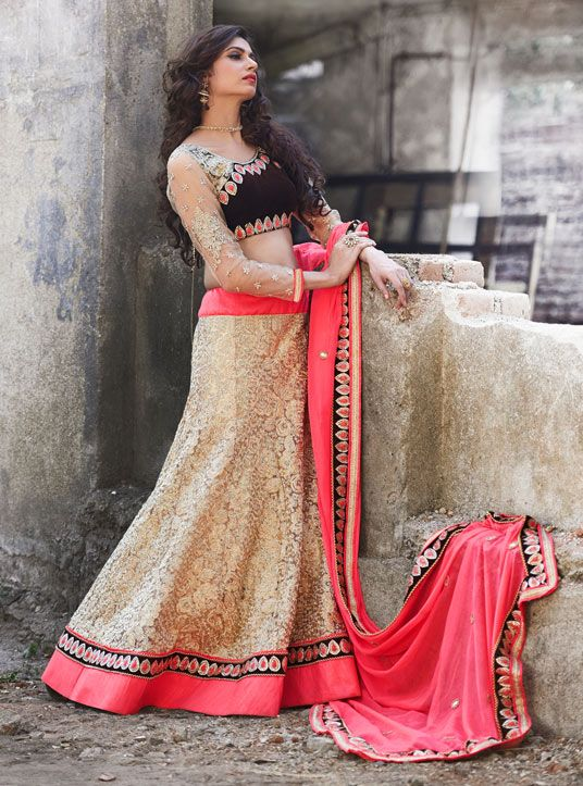 USD 295.56 Beige Net Wedding Lehenga Choli 48168