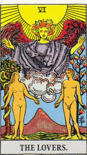 Lovers     Put this card next to Ten of Cups, and it brings out the couple belonging to or being attached to a family, community or other group, with love being the attachment. So when you attach yourself to a person, you attach yourself to whatever that person belongs to, unless you can resist. Lovers shows Adam and Eve with the volcano of passion in the background and the overseeing angel above them, a couple who are stuck in a story. (Aren't we all?)