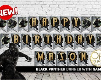 BLACK PANTHER banner,black panther party,black panther,black panther birthday,black panther party supplies,black panther invite, marvel