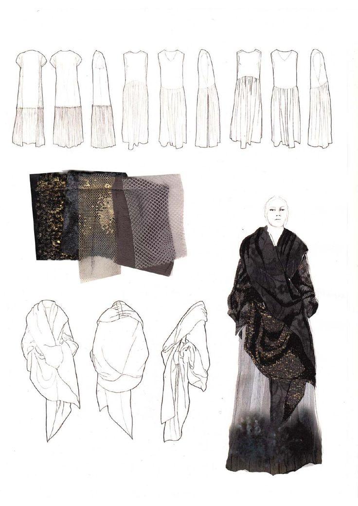 Fashion Sketchbook - fashion design collection development with fashion illustrations & manipulated textiles samples; fashion portfolio // Victoria Cumming