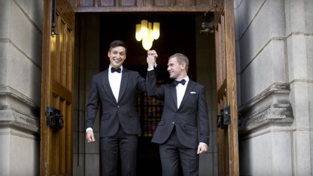 Larry Choate III married Daniel Lennox at the US Military Academy at West Point's Cadet Chapel on Nov. 3, 2013. Theirs was the first wedding between two gay men at West Point.