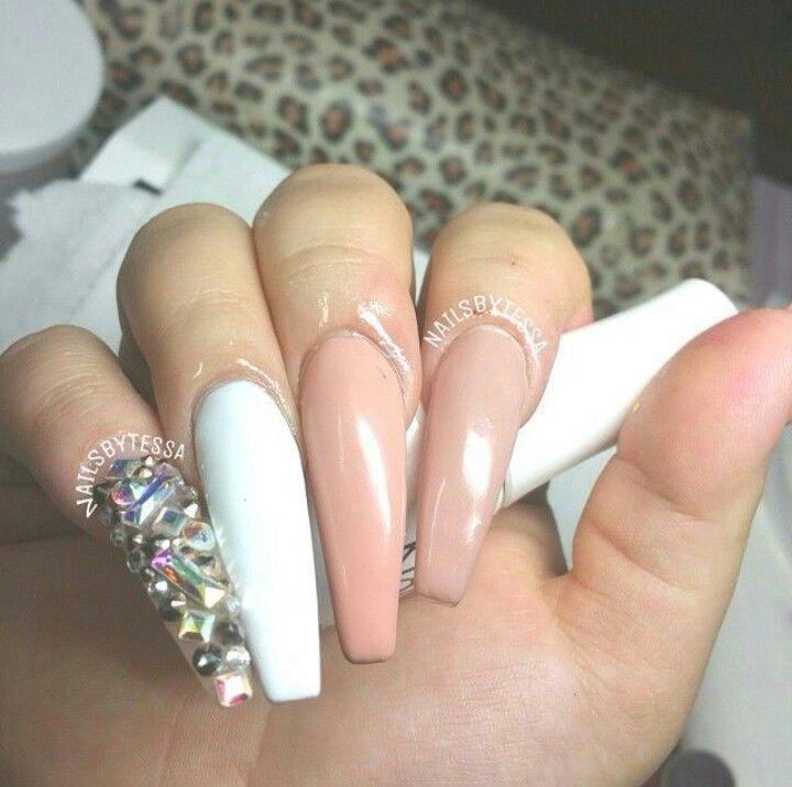 Extra Long Acrylic Nails W Rhinestones Nails 2 Nails Coffin Nails Long Acrylic Nails
