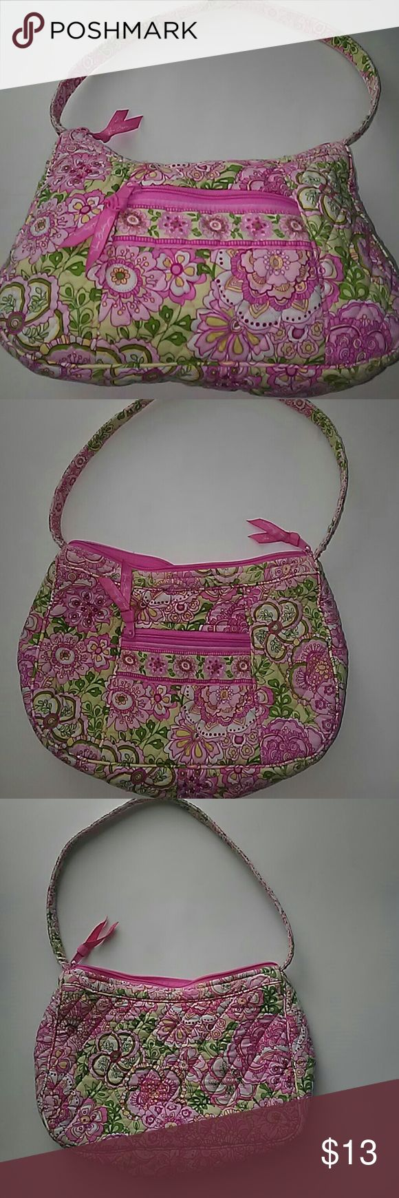 Used. Pink Vera Bradley Used Vera Bradley 8 inches long by 12 wide by. 4 deep pink pretty flowers and leaves clean no stains comes from pet free smoke free home Vera Bradley Bags Shoulder Bags