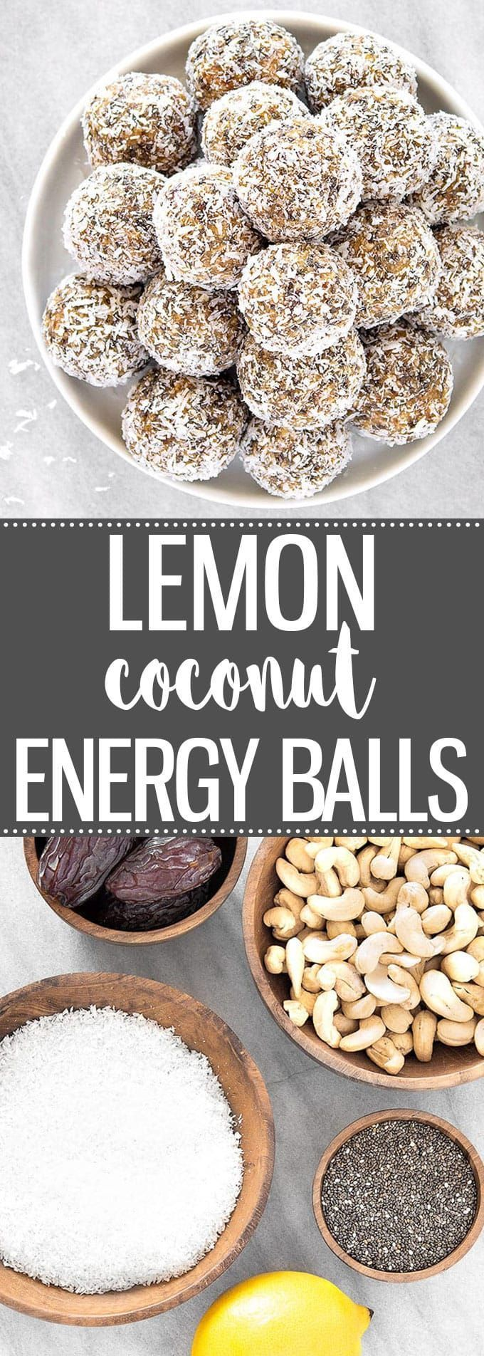 Healthy Lemon Coconut Energy Balls - No-bake snacks packed with cashew nuts, coconut, dates, chia seeds, lemon. Vegan, Paleo, Gluten Free