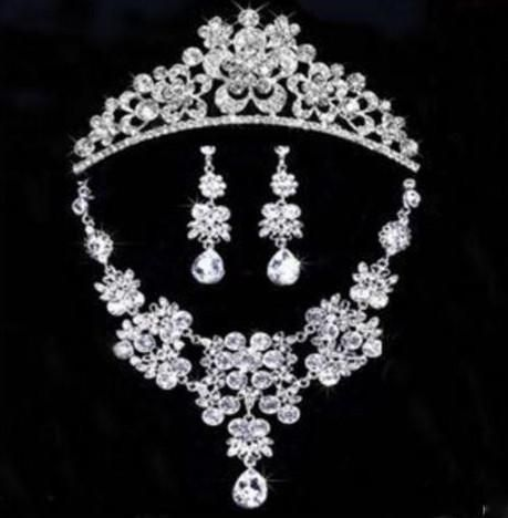 Stunning Flower Wedding Set Tiara Necklace and Earrings