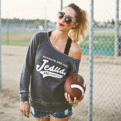 """Sundays Are For Jesus and Football"" Wide-Neck Sweatshirt"