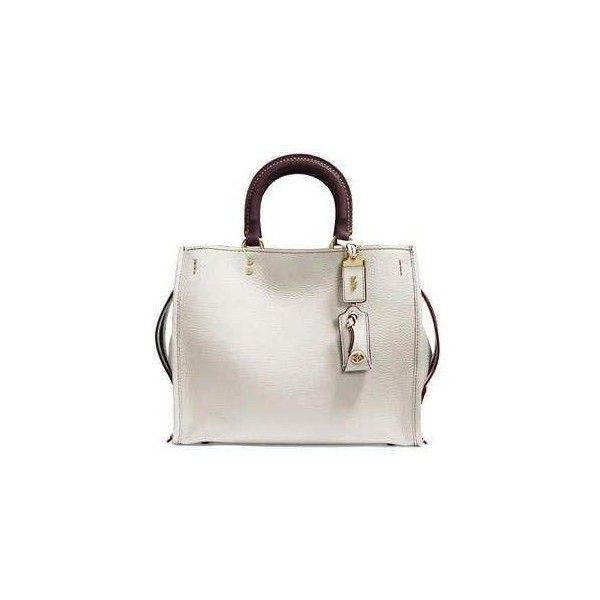 Coach 1941 Rogue Small Leather Tote Bag via Polyvore featuring bags, handbags, tote bags, white leather tote bag, white purse, handbags totes, leather tote handbags e genuine leather handbags