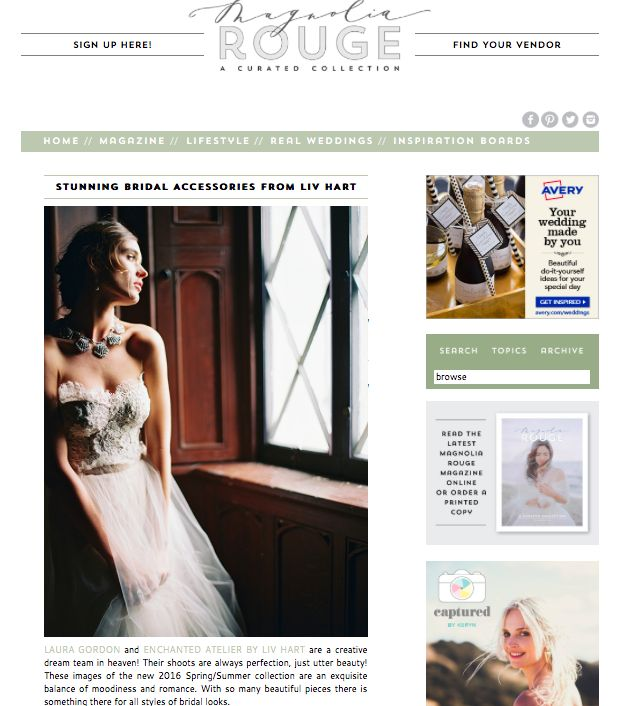 Photography LAURA GORDON / Accessories & headpieces ENCHANTED ATELIER BY LIV HART / Gown SAMUELLE COUTURE / Rings TRUMPET & HORN / Make-up ASHLEE GLAZER / Hair stylist NIKKI AVANZINO / Model NATALIA WOWCZYKO / Location LYNDHURST CASTLE / Film scans PHOTOVISION - See more at: http://magnoliarouge.com/stunning-bridal-accessories-from-liv-hart/#sthash.r3jd88cW.dpuf