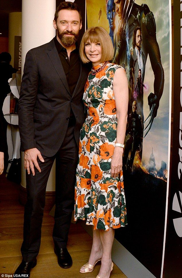Hugh Jackman and Anna Wintour - At the 'X-Men : Days Of Future Past' film screening in New York.  (May 2014)