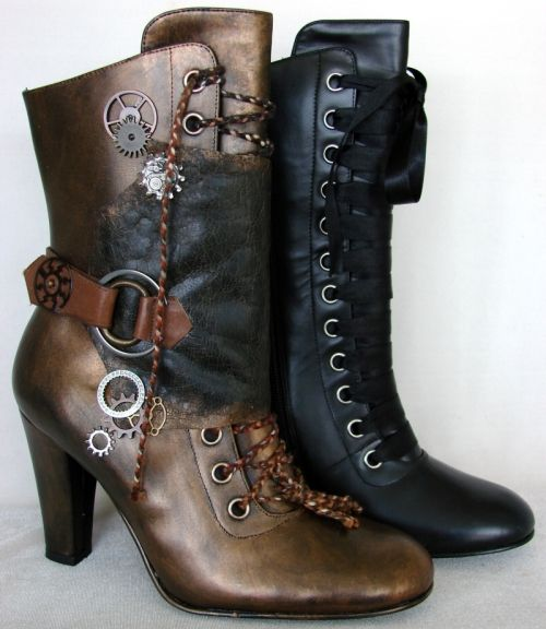 """Sassy Feet DIY Shoe painting pages, and YouTube video, using Lumiere paints and Future Acrylic Floor """"Wax"""" sealer. Steampunk boots. myb"""