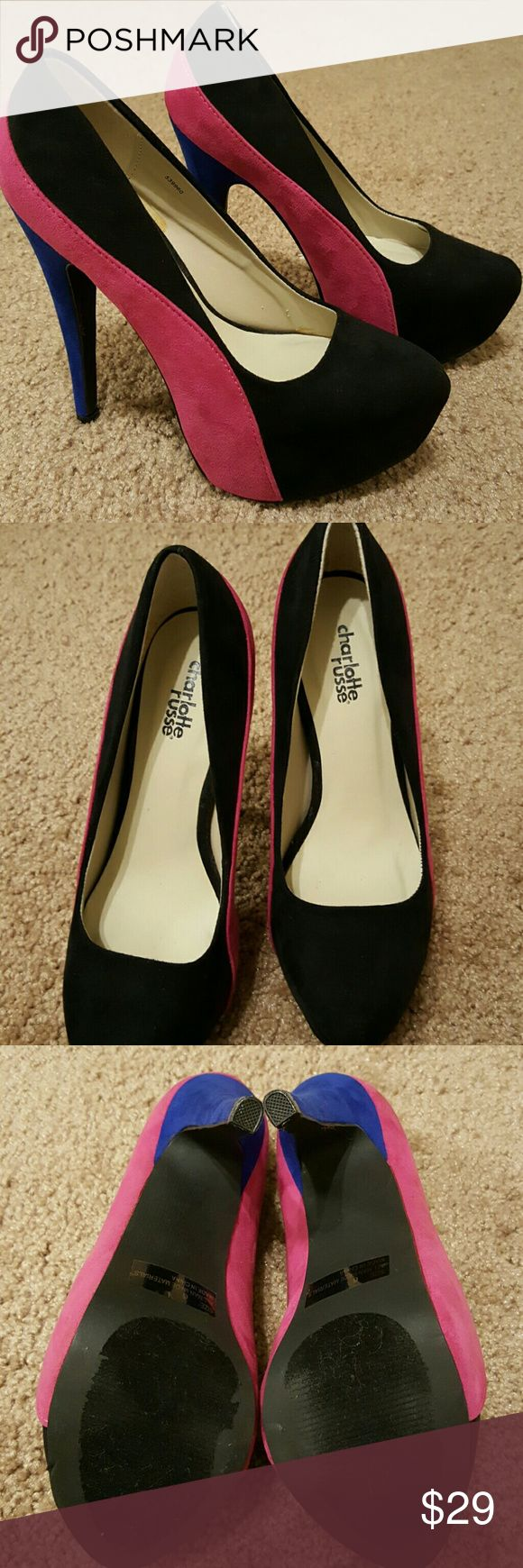 Charlotte Russe suede heels Size 6 Size 6 suede heels with black, pink and royal blue 6 inch heel. Worn once. No box Charlotte Russe Shoes Heels