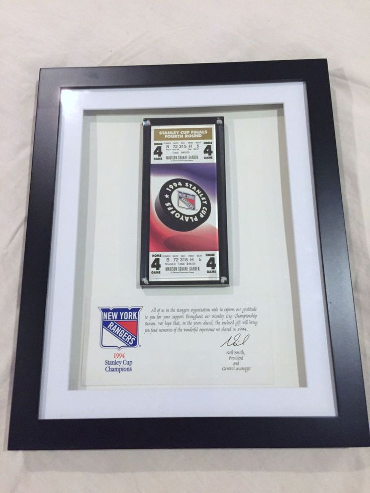 NEW YORK RANGERS,1994 FRAMED AWARDED MSG GAME 7 STANLEY CUP TICKET PLAQUE,RARE