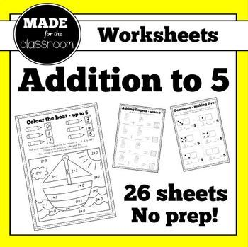 Addition to 5 & pairs to 5 - No prep worksheets (x26)