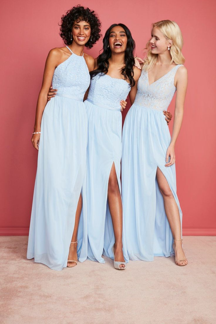 Ice blue bridesmaid dresses are a bright and flattering bridesmaid color choice. Shop this shade in over 100 bridesmaid dress styles only at David's Bridal #bridesmaids