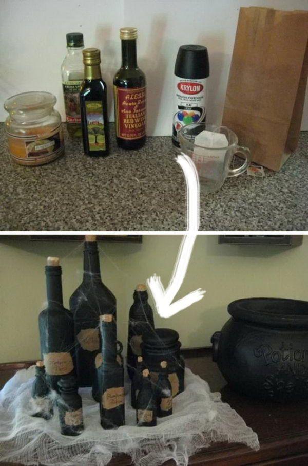 Leere Gewürzflaschen schwarz lackiert, um wie Hex…