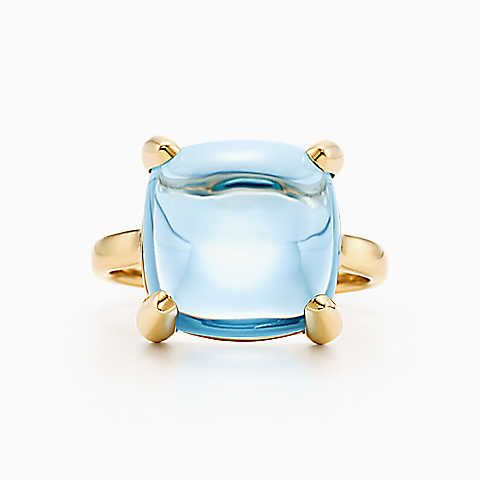 Paloma's Sugar Stacks ring in 18k gold with a blue topaz.