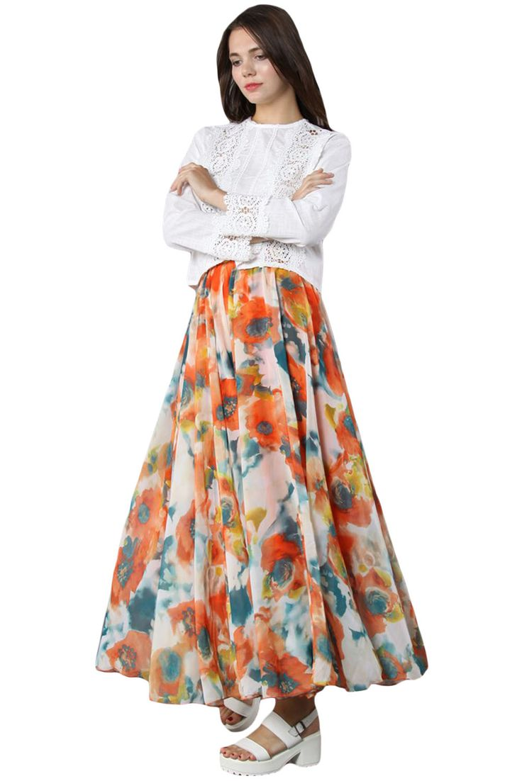 Orange Painting Floral Chiffon Maxi Skirt