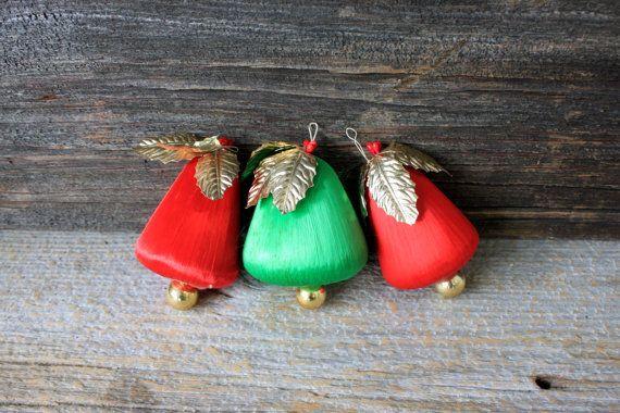 3 midcentury Christmas ornaments satin bells by umbrellafant