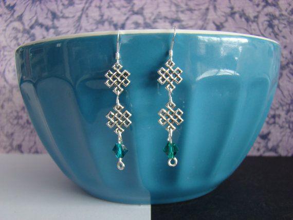 Emerald Swarovski Link Earrings by KraftsByKeller on Etsy, $9.00