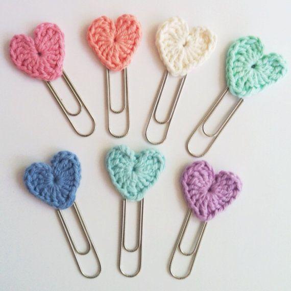 Set of 3 Crochet Heart Jumbo Paperclip bookmarks by LOVENOTECRAFTS, $5.00