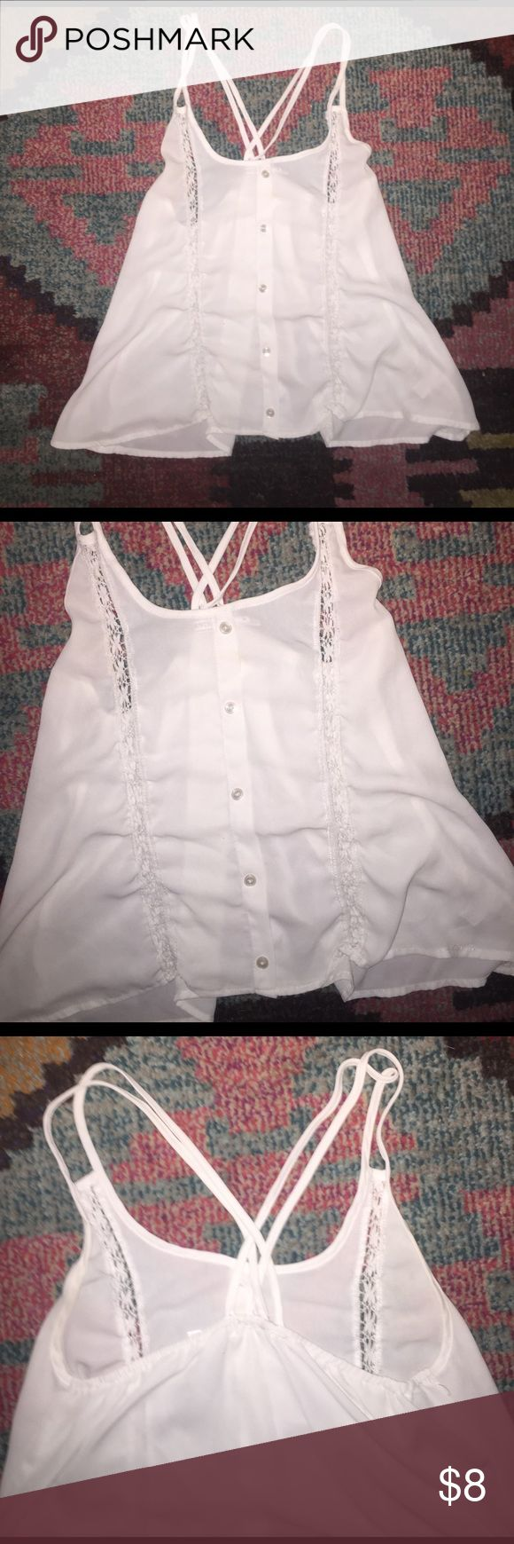 Body Central size medium white tank top blouse Body Central size medium white tank top blouse with buttons silk silky chiffon type material see through wear with a cute bralette perfect for summer Body Central Tops Tank Tops