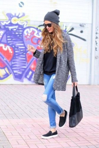 casual in jacket and slip-ons- Casual outfits ideas with slip on shoes http://www.justtrendygirls.com/casual-outfits-ideas-with-slip-on-shoes/