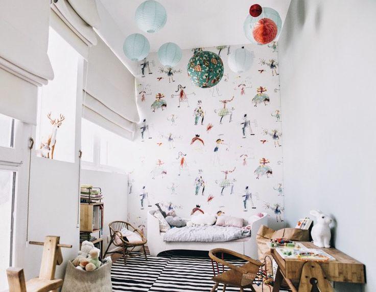 children's room facility decoration wallpaper knows Scandinavian wood